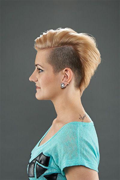 Frauen rundes gesicht sidecut Kurze Haare