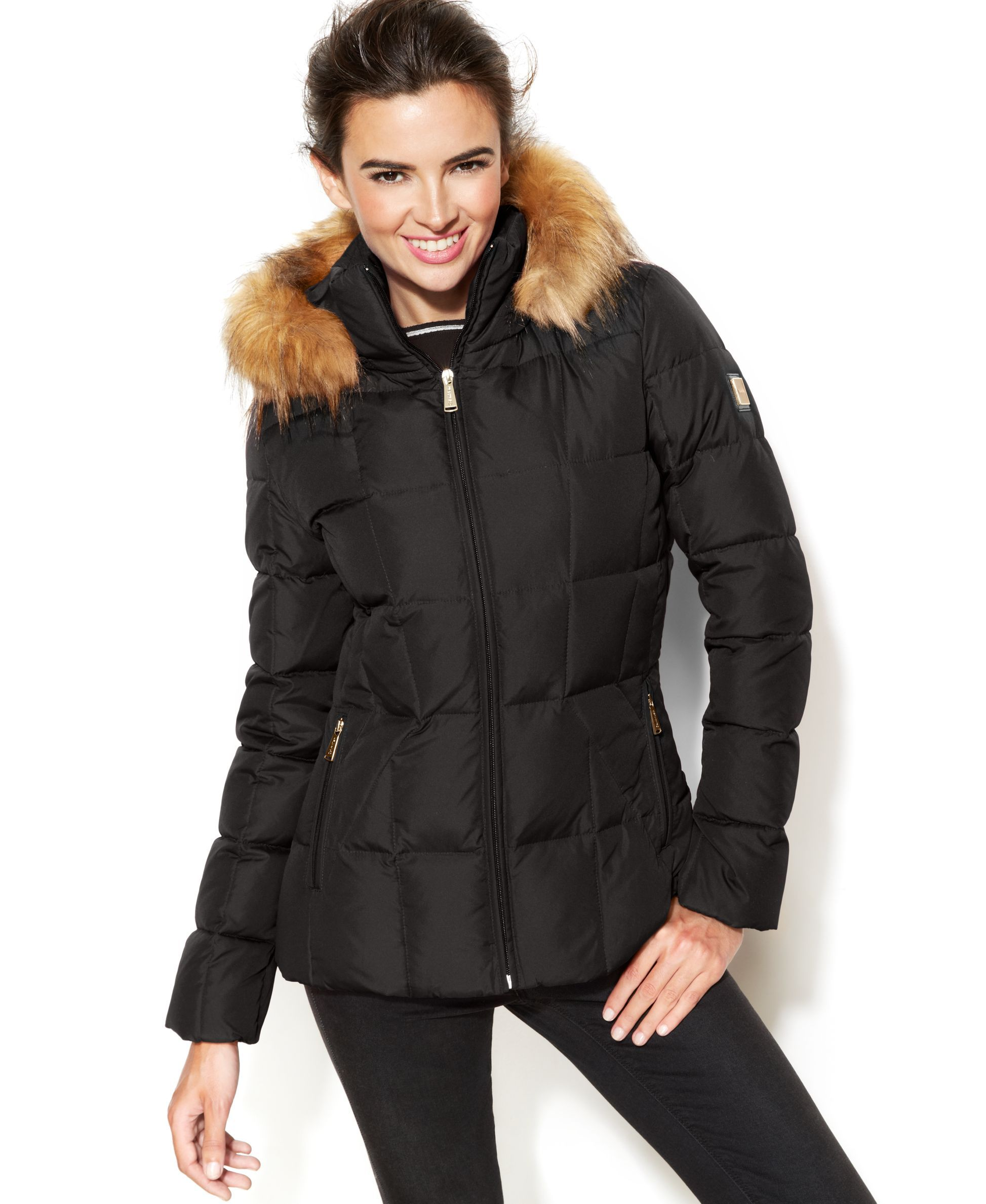 1583f527b Calvin Klein Faux-Fur-Trim Hooded Puffer Down Coat | Downjacket ...