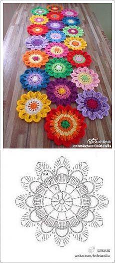 Camino de mesa con flores crochet