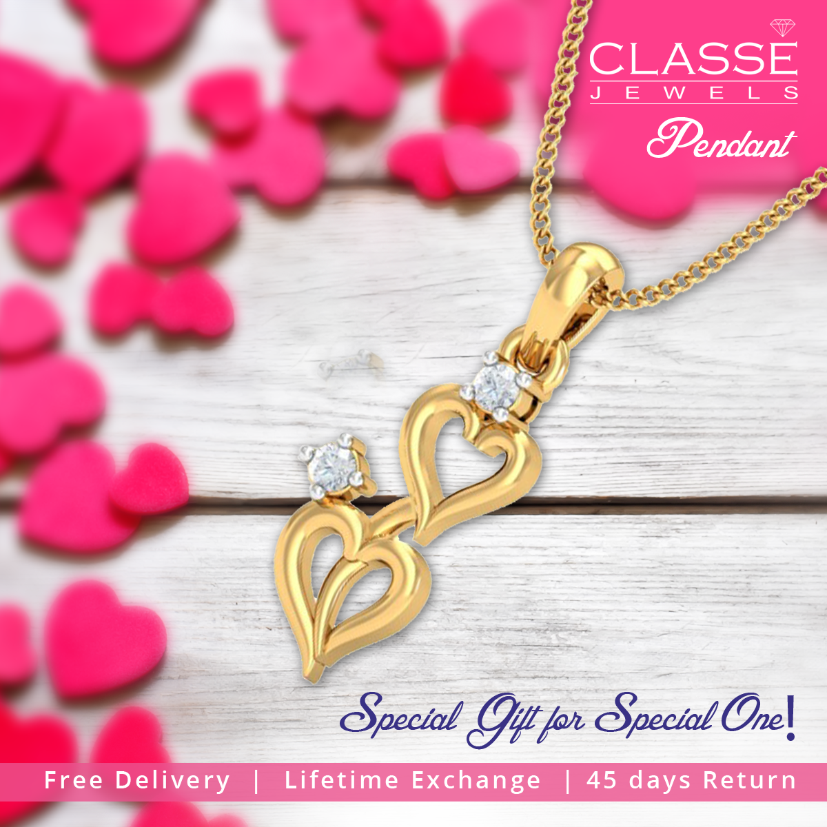 Special gift for special one! Order Pendant Online @ http://bit.ly/2arNW9D 45 days Return   Lifetime Exchange   COD Available #NamasteClasse #Diamond #Pendant #Offers #Sale #Jewellery