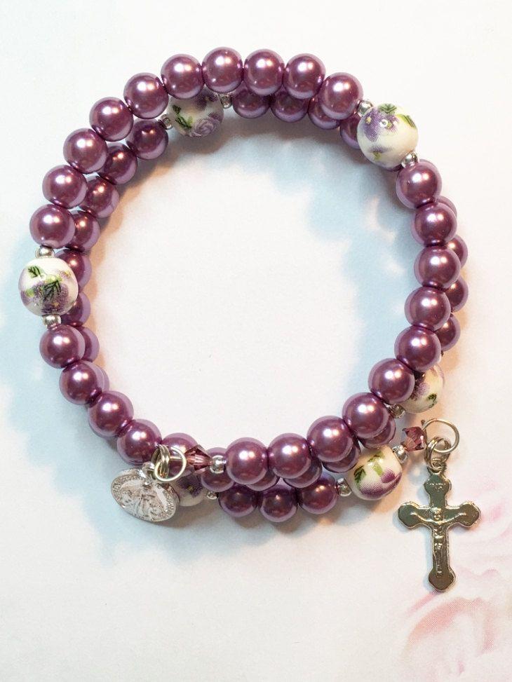 Glass Pearl Rosary Bracelet in Striking Mauve/Plum color. Catholic Rosary Bracelet, Memory Wire Rosary Bracelet by LivAriaDesigns on Etsy
