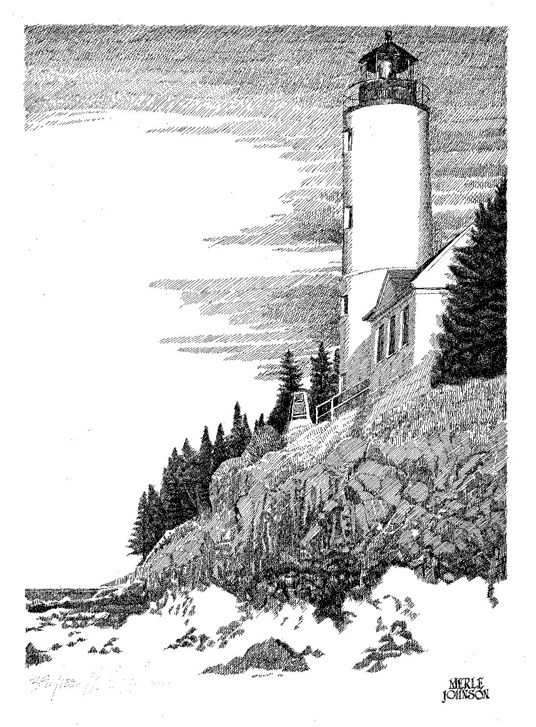 Lighthouse Terrific Ink Drawing With Images Landscape