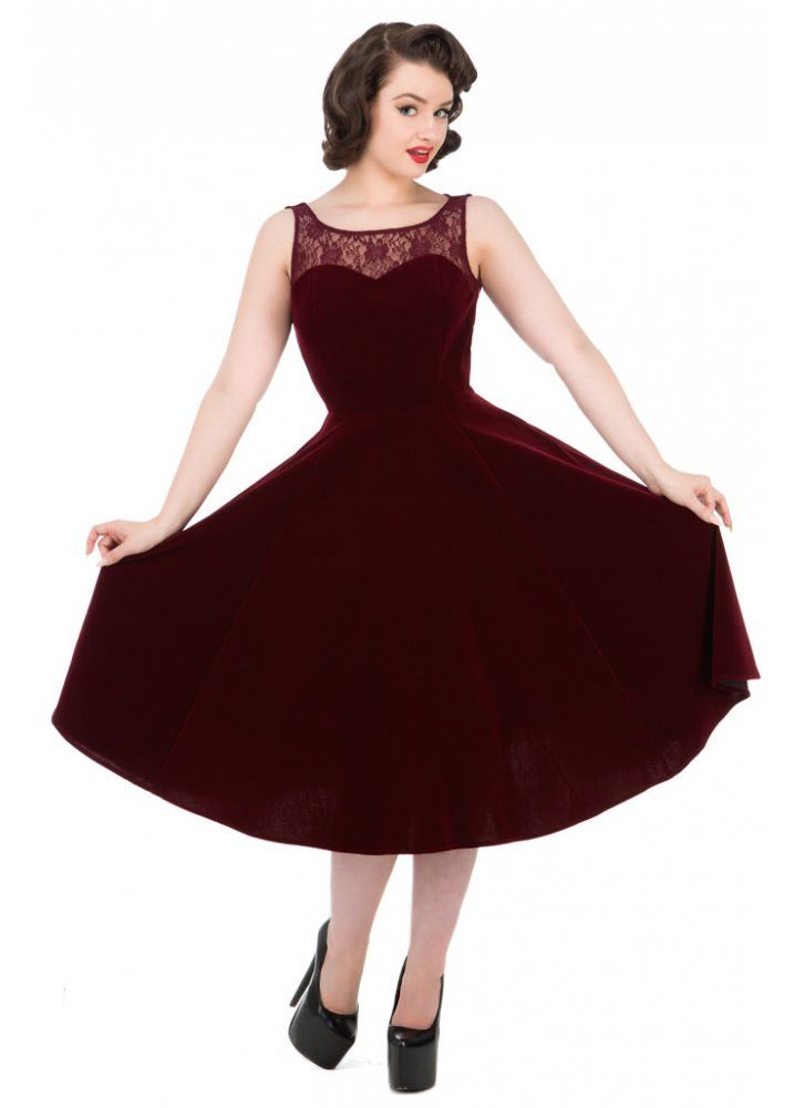 H&R London Burgundy Velvet Romance Retro Dress