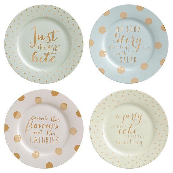 Tesco Direct Set Of 4 Gold Spot Slogan Dessert Plates Bakery Slogans Tesco Direct Tesco