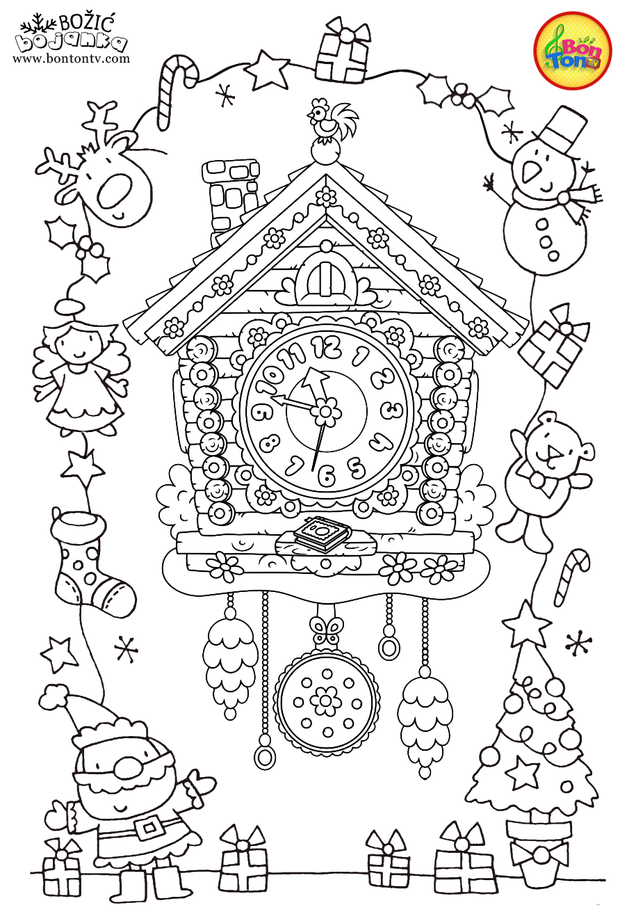 Christmas Coloring Pages - Božić bojanke za djecu - Free Printables for Kids - Christmas Tree, Cookies, Santa Claus and Snowman, Reindeers and more on BonTon TV - Coloring Books #christmas #coloringpages #coloringbooks #printables #božić #bontontv #coloringsheets
