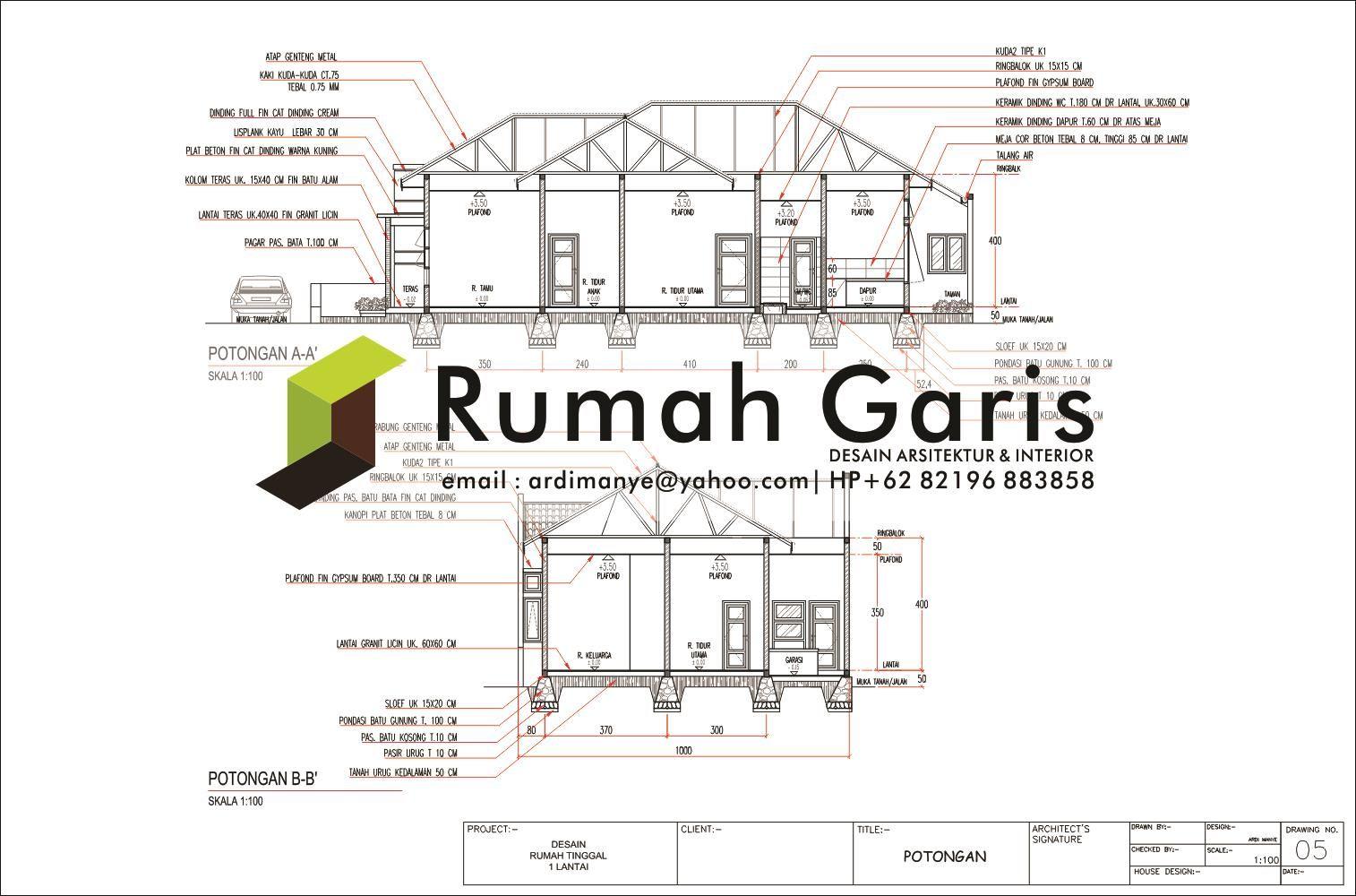 Potongan Rumah 1 Lantai Luas Tanah Dan Tipe PLANOS Di 2019 Rumah