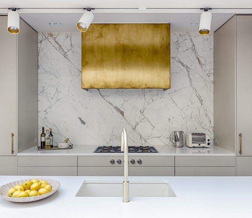 Another Option To Spice Up A Cooker Hood This One Is Made In Antique Finished Brass Set On A Marble Splas Modern Kitchen Hood Kitchen Hood Design Cooker Hoods