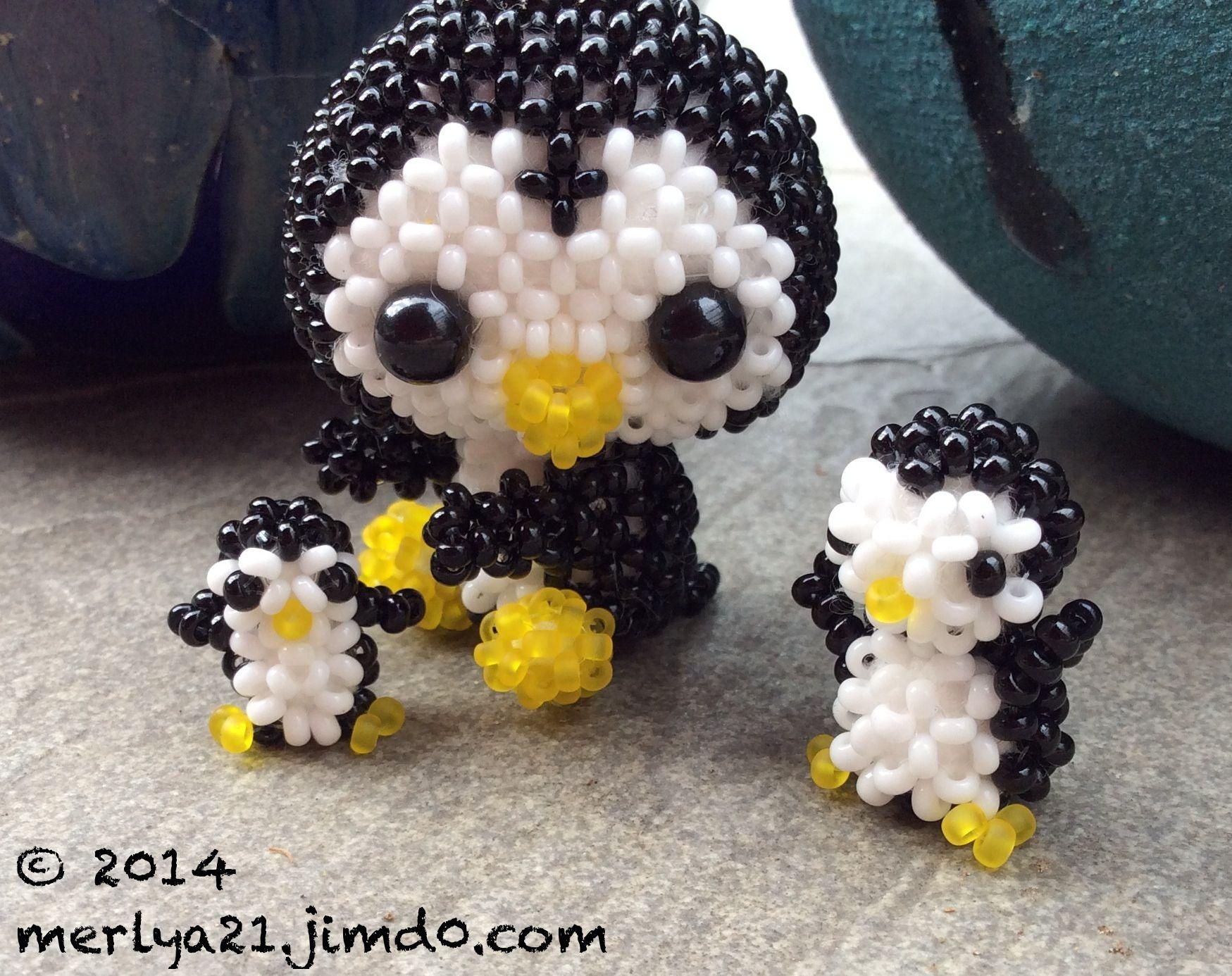 pinguin trio anleitungen aus japanische mini perlentiere. Black Bedroom Furniture Sets. Home Design Ideas