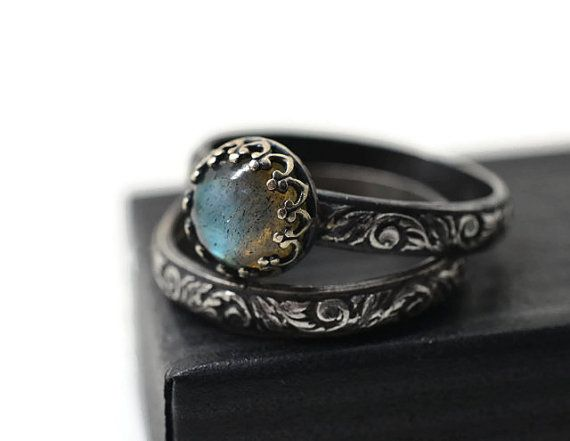Labradorite Wedding Set Renaissance Style Engagement Ring Set Of