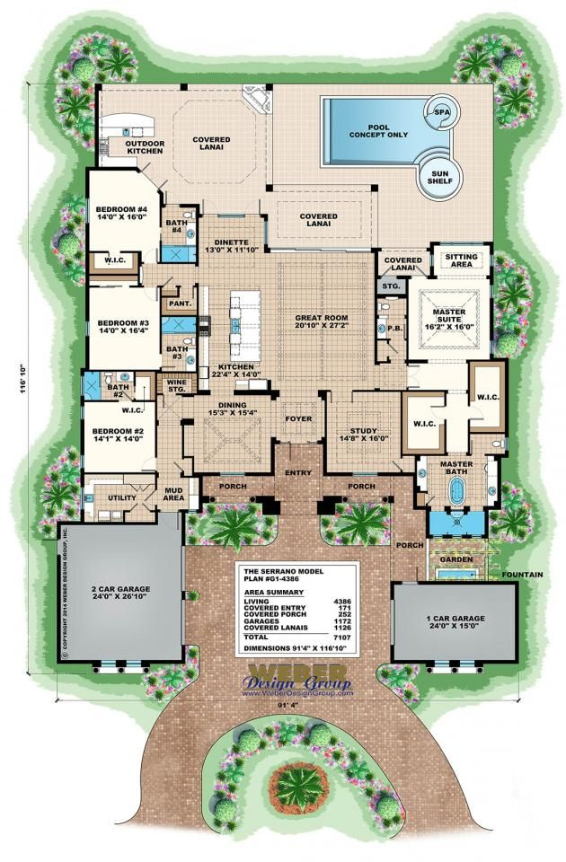 serrano floor planweber design group | mediterranean house plans