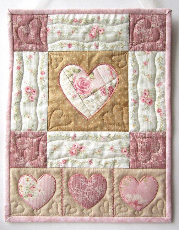 Heart Wall Hanging Heart Quilt Shabby by LittleTreasureQuilts ... 63ac2d88ba