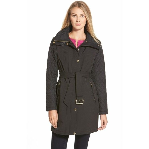 MICHAEL Michael Kors Belted Soft Shell Jacket with Quilted Sleeves (1.050 NOK) ❤ liked on Polyvore featuring outerwear, jackets, black, slim fit jacket, quilted hooded jacket, black quilted jacket, black long sleeve jacket and black slim jacket