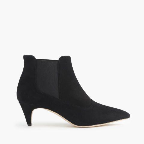 Suede Kitten Heel Boots Black Women H M Us Kitten Heel Ankle Boots Kitten Heel Boots Boots