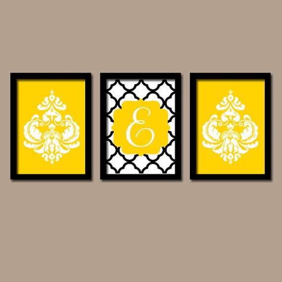 Yellow Black Wall Art- Damask Monogram Initial Artwork- Bathroom ...