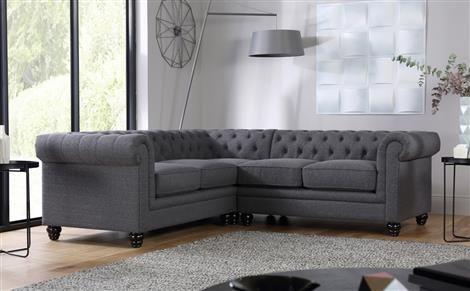 Hampton Slate Fabric Chesterfield Corner Sofa Furniture Choice In 2020 Chesterfield Corner Sofa Grey Corner Sofa Corner Sofa