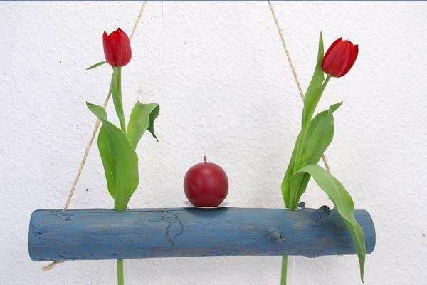 Hängevase Treibholz blau Kerze Mobile Reagenzglas von SchlueterKunstundDesign - Wohnzubehör, Unikate, Treibholzobjekte, Modeschmuck aus Treibholz auf DaWanda.com