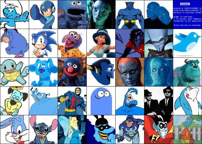 can you name the blue characters by spineywolf online