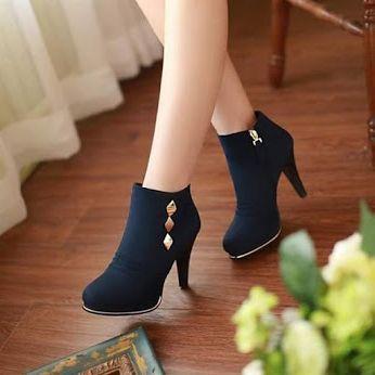 Women's Navy Metal Embelishment Pencil Heel Ankle Vintage Boots