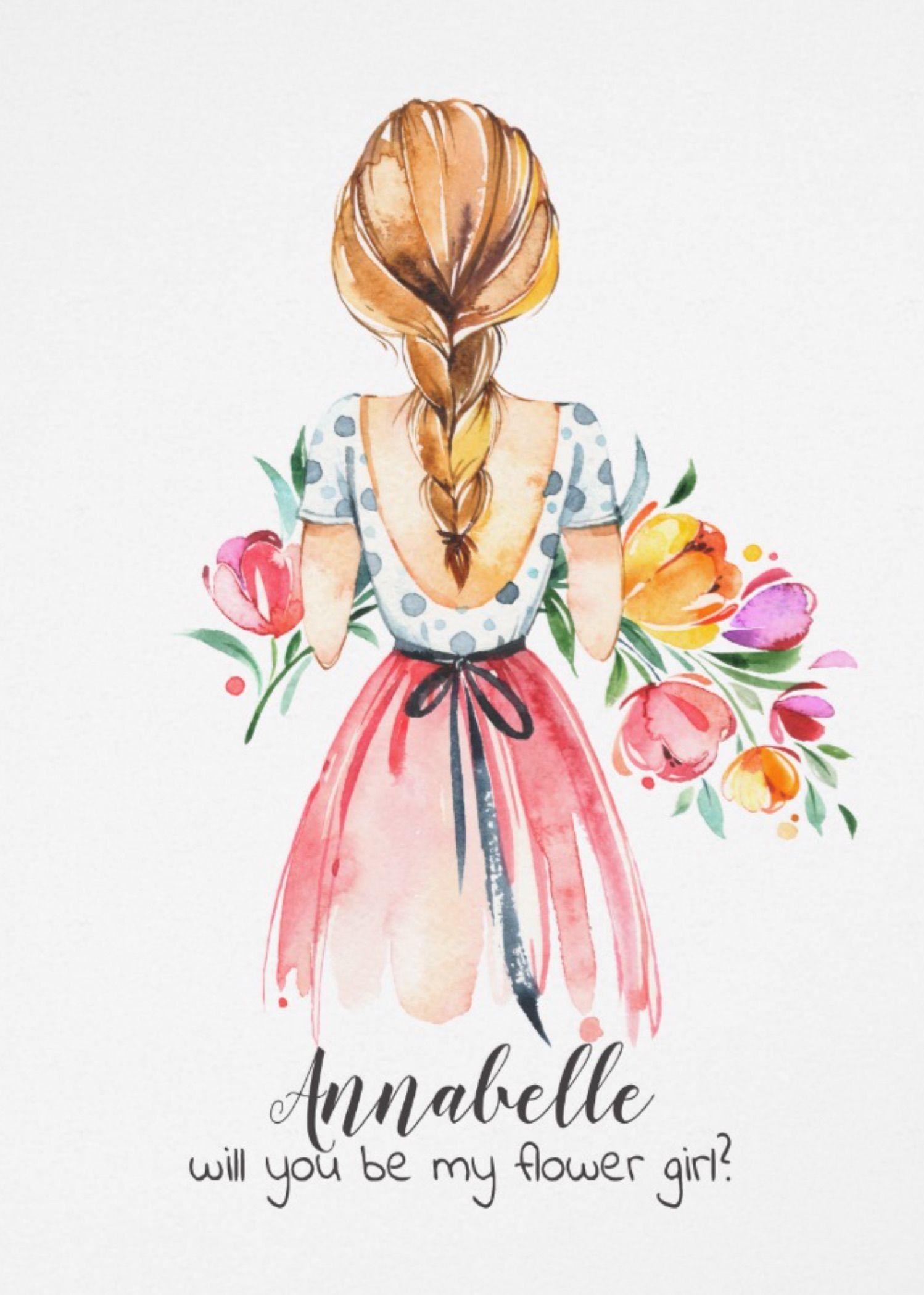 Springtime Flower Girl Illustration Invitation Zazzle Com