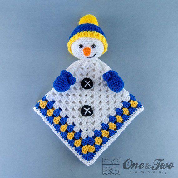 Lovey Crochet Pattern - Snowman PDF Security Blanket - Tutorial Digital Download DIY - Snowman Lovey - Dou Dou - Baby Toy - Snuggle Toy