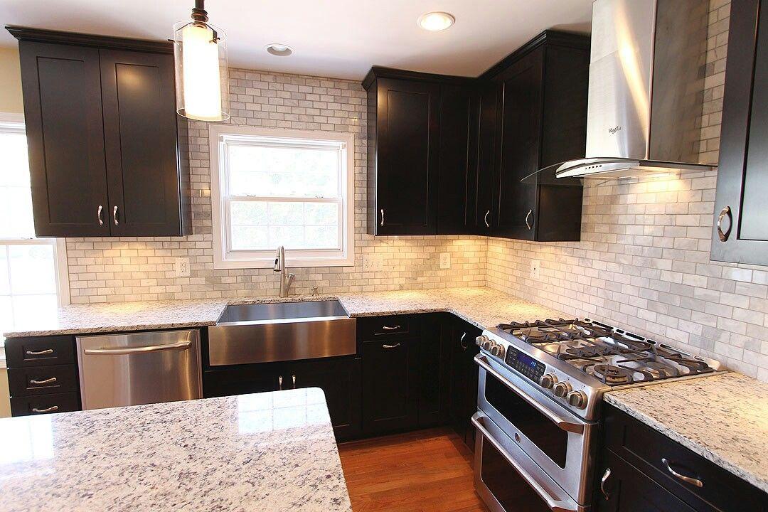 White kitchen stainless steel farmhouse sink
