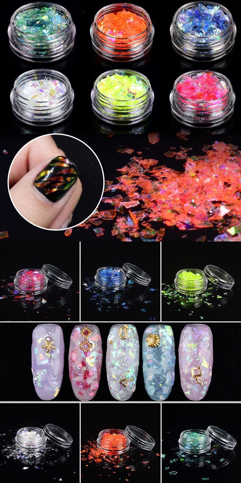 1 Pot DIY Shattered Glass Holographic Foils Nail Art Accessory ...