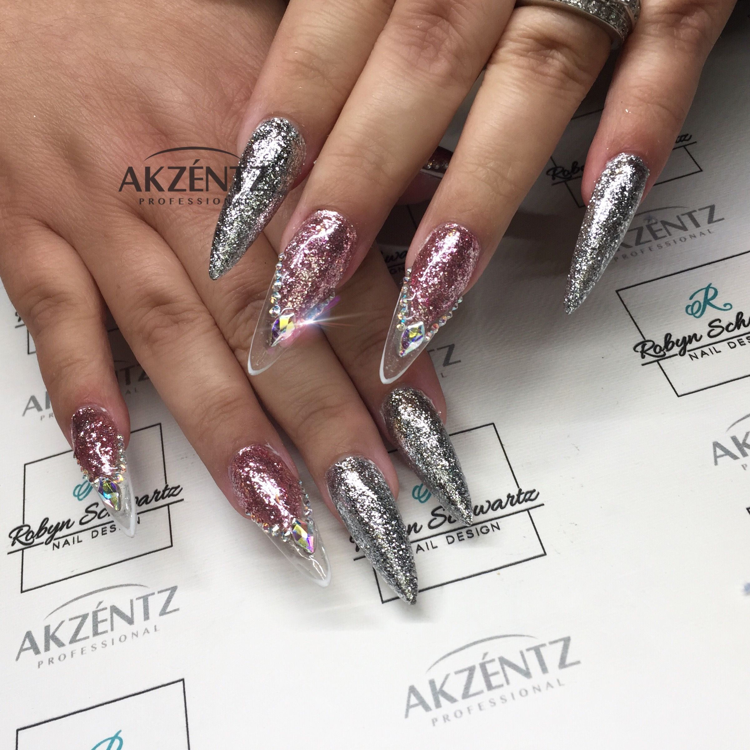 White Gold and Pink Diamond Glitz on long almond gel nails | Маникюр ...