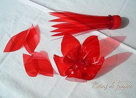 Fleurs En Plastique De Bouteille recup plastique, bouteille-de-badoit, fleur-en-plastique, fleur-en