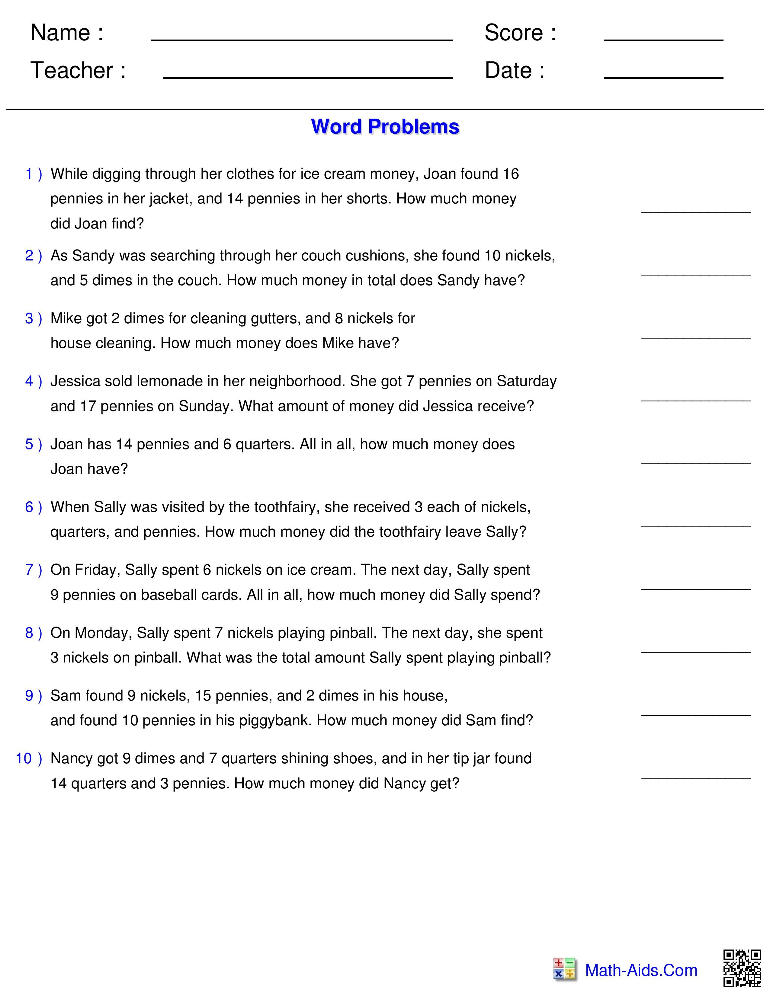Best 20 Money Worksheets