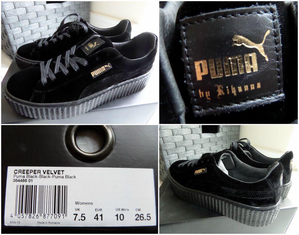 the best attitude 01e54 12020 PUMA RIHANNA FENTY CREEPER VELVET Trainers Sneakers Black ...
