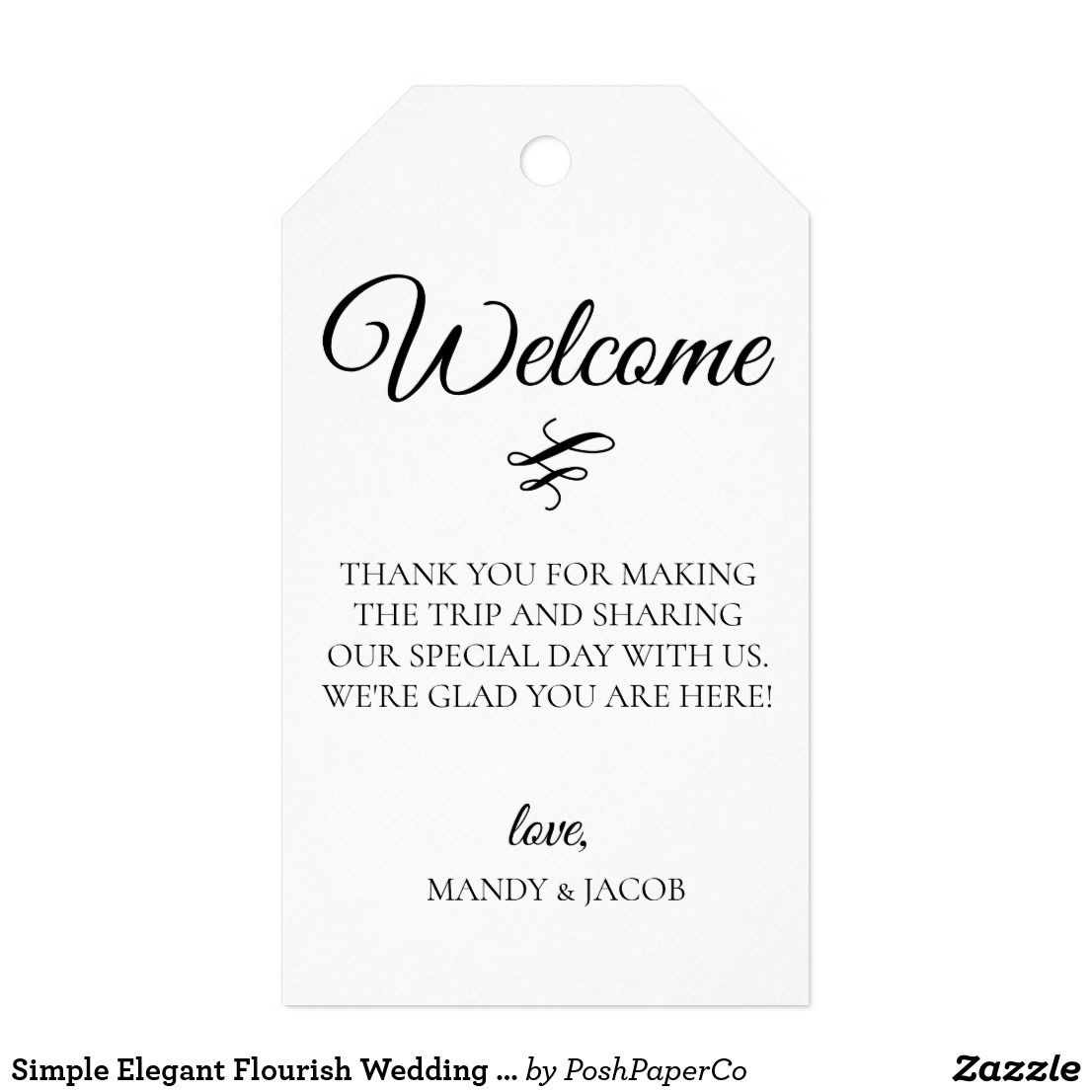 Simple Elegant Flourish Wedding Welcome Bag Gift Tags