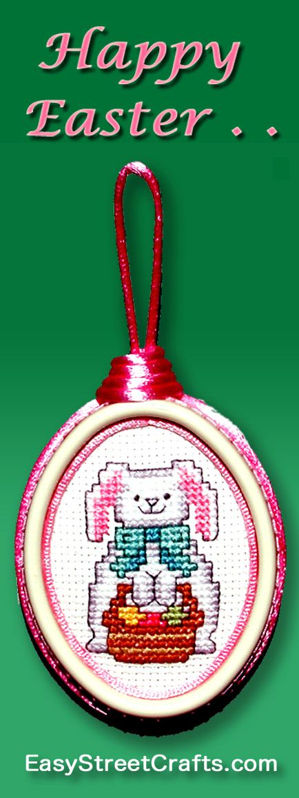 AN EASTER BUNNY CARRYING ALL HIS EGGS IN ONE BASKET!! Cross-stitch ...