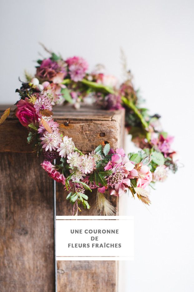 diy une couronnes de fleurs fraiches mariage de r ve pinterest couronne de fleurs fleurs. Black Bedroom Furniture Sets. Home Design Ideas