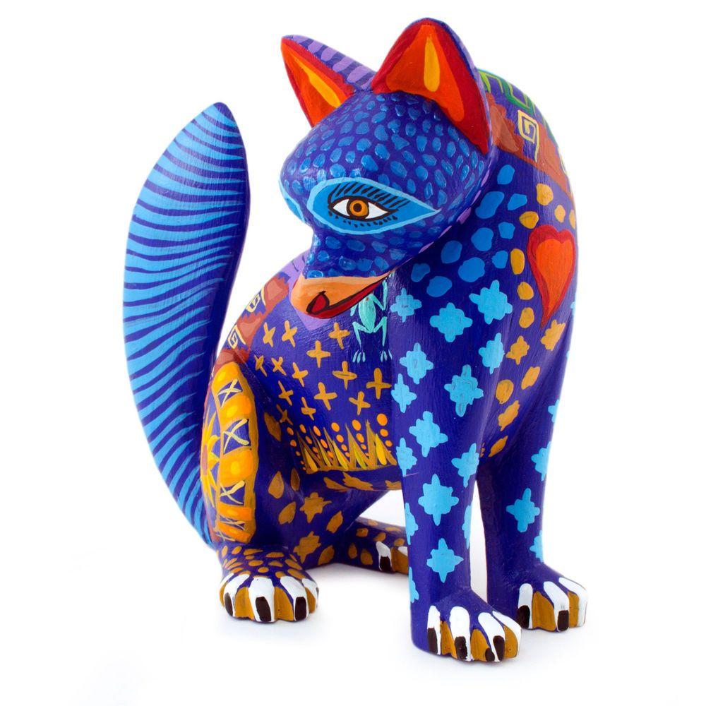 Wood alebrije sculpture oaxaca folk art handmade uzapotec coyote