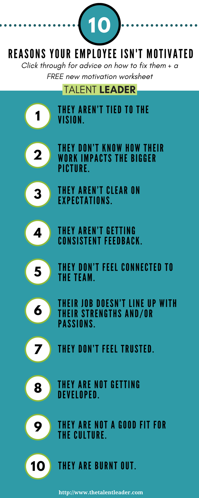 10 reasons why your employee isn't motivated | nanny & teacher ideas