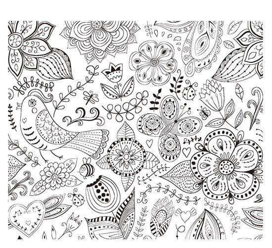 Abstract Bird Coloring Pages : Flowe bird heart abstract doodle zentangle coloring pages