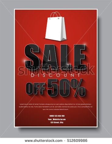 Poster Template (banner) for sale flyer design with red background - for sale poster template