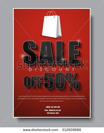 Poster Template (banner) for sale flyer design with red - for sale poster template