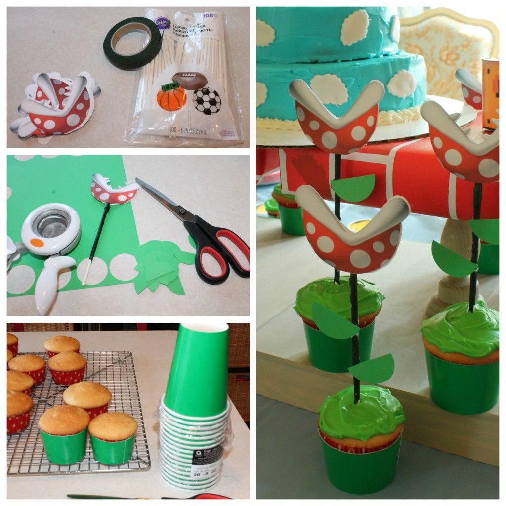 how to make piranha plant cupcakes for a super mario brothers birthday party party planning. Black Bedroom Furniture Sets. Home Design Ideas
