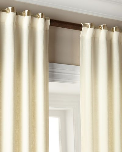 Add Band Of Metallic Trim To Upper Portion Drapes On White Satin Sheen