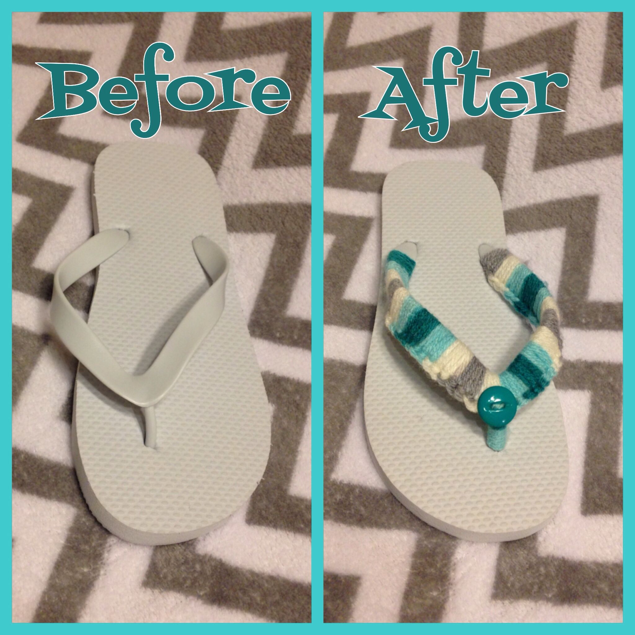 Crochet flip flops teal and white made by Jessica Westerwelle facebook.com/5starcrochet