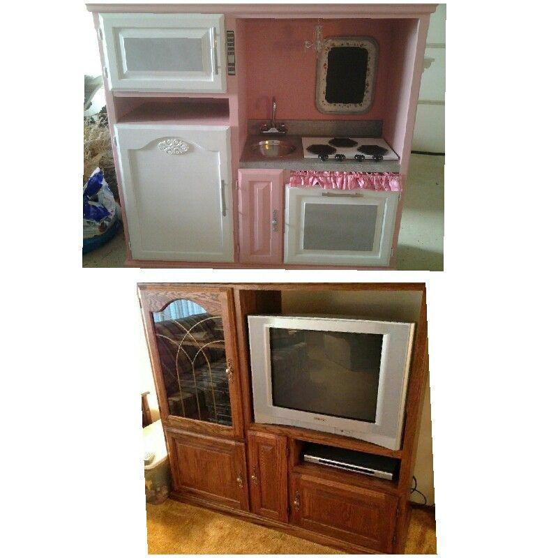 Entertainment Center Kitchen Set: My Latest Pinterest Project! Kids Kitchen Made From An Old