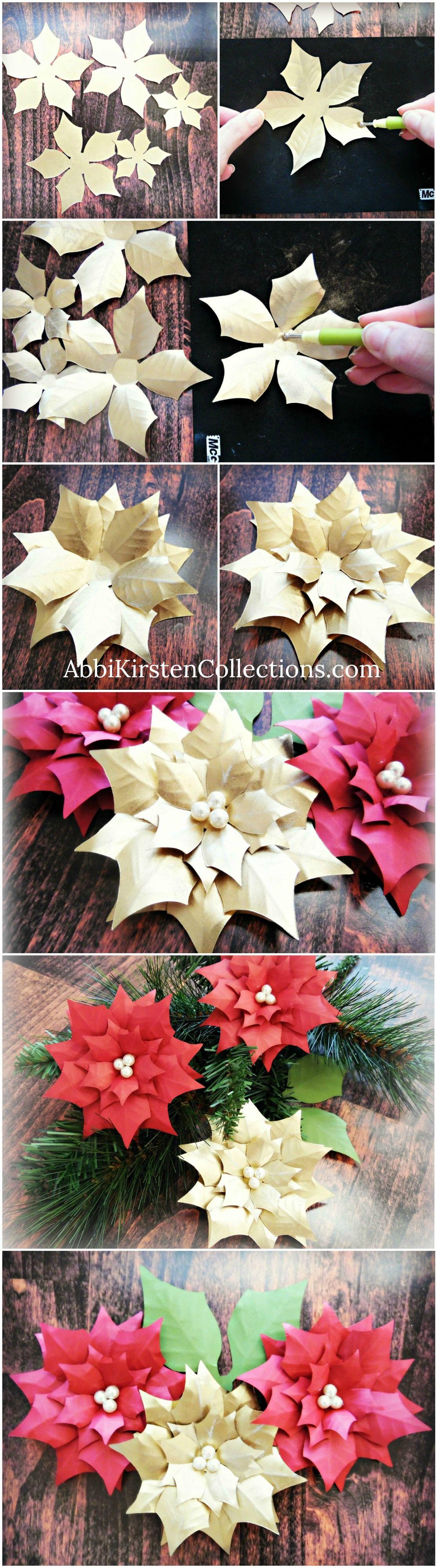 Small Poinsettia DIY Flower Templates  Holidays  Pinterest  Paper