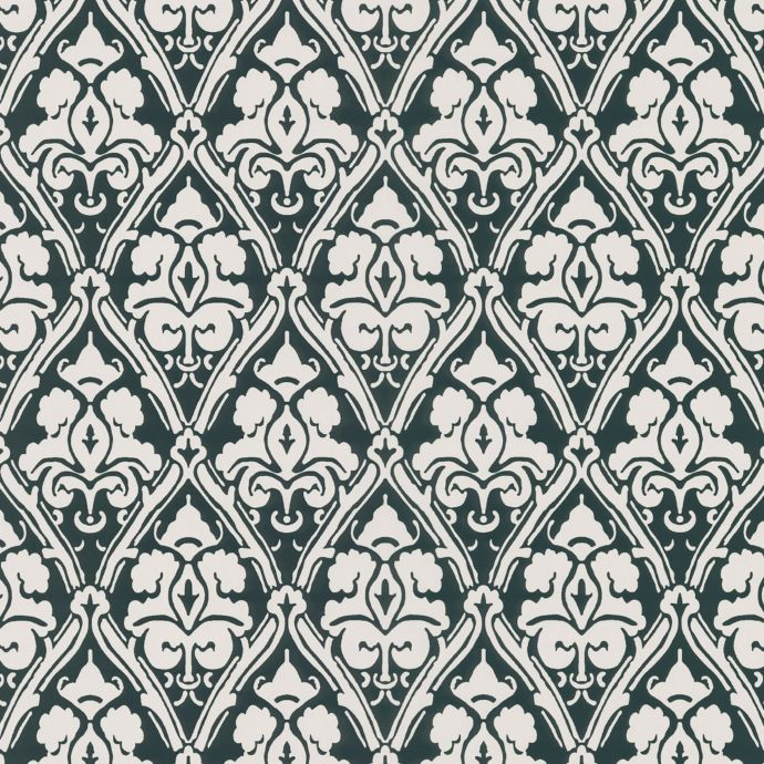 Echo Design™ Damask Wallpaper Sample in Black Bed Bath