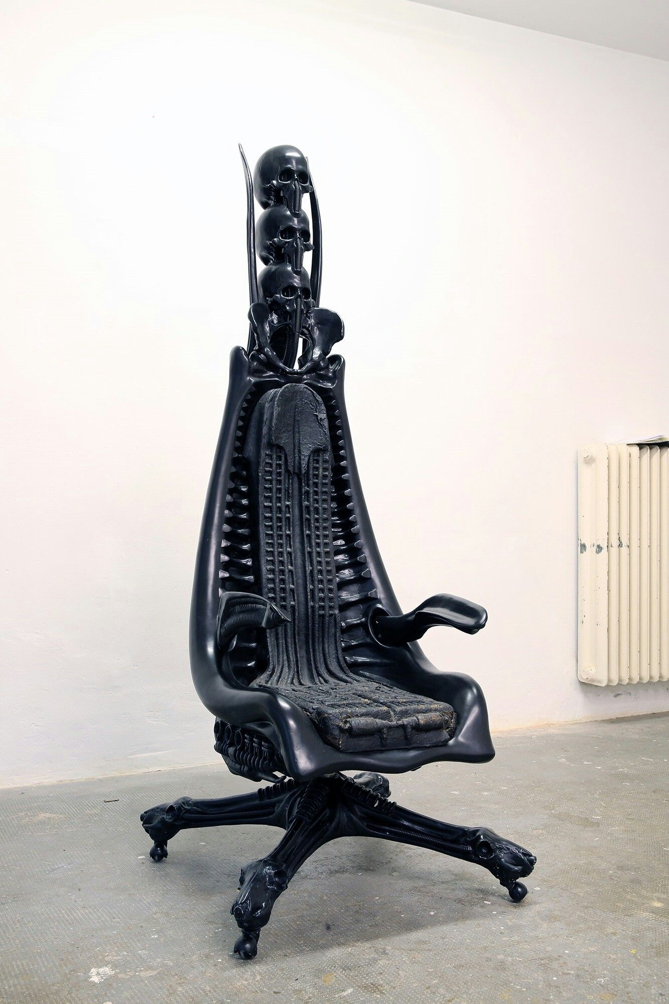 H r giger harkonnen capo chair 1981 polyester metal rubber 180 x 100 x 65 cm