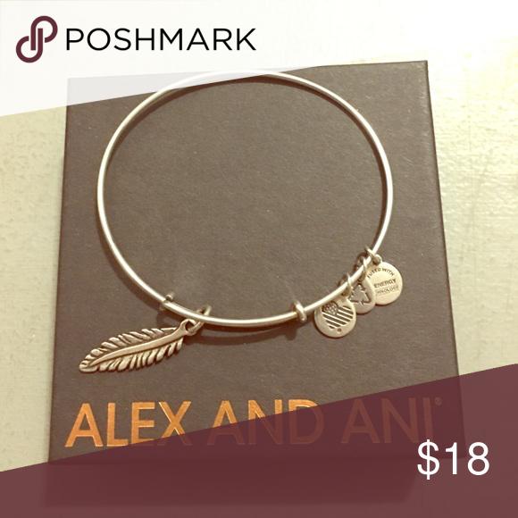 Alex & Ani feather bangle Worn very few times. No tarnish. Alex & Ani Jewelry Bracelets