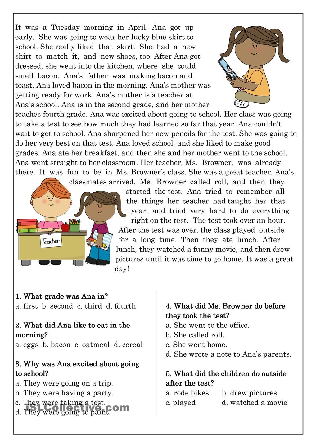 Reading Comprehension for beginner and Elementary Students 10 ...