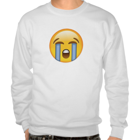 Loudly Crying Face Emoji Pullover Sweatshirt