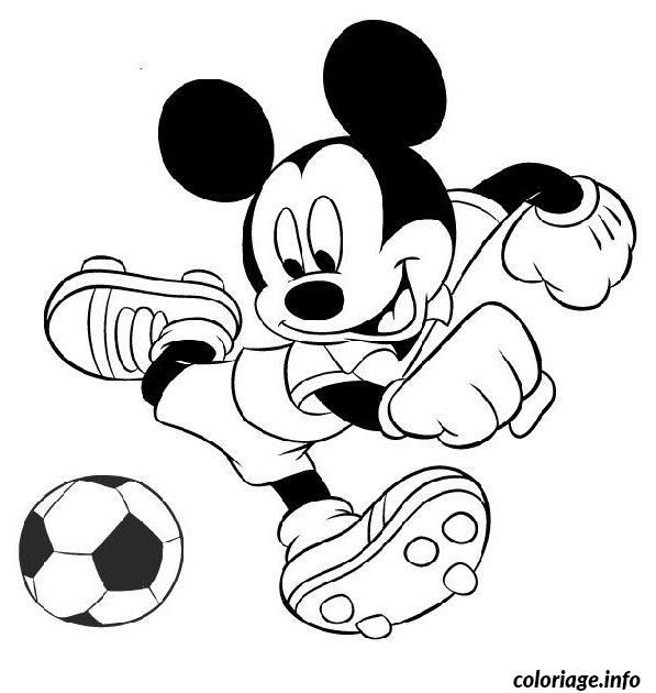 Coloriage De Foot Facile.Coloriage Mickey Joue Au Foot Dessin A Imprimer Enfants Idees