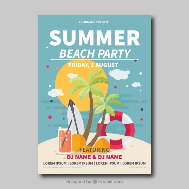 Beach party card Free Vector